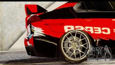 Mitsubishi Lancer Evo X Nunes para GTA San Andreas traseira esquerda vista