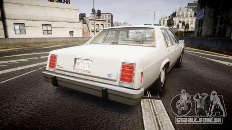 Ford LTD Crown Victoria 1987 Detective [ELS] para GTA 4 traseira esquerda vista