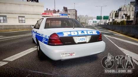 Ford Crown Victoria Liberty Police [ELS] para GTA 4 traseira esquerda vista