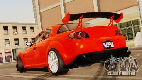 Mazda RX8 Drifter para GTA San Andreas traseira esquerda vista