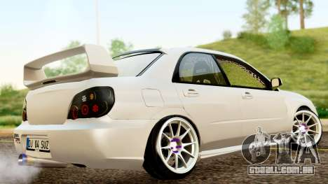 Subaru Impreza WRX STI Stance para GTA San Andreas traseira esquerda vista