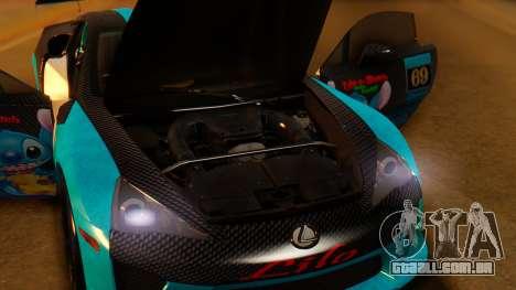 Lexus LFA 2010 OP Lilo para GTA San Andreas vista traseira