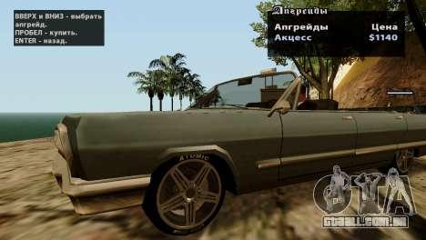 Rodas de GTA 5 v2 para GTA San Andreas por diante tela
