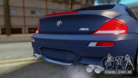 BMW M6 para GTA San Andreas vista traseira