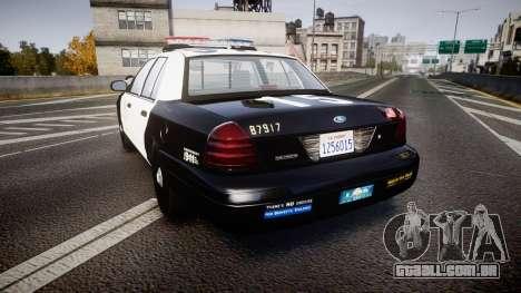 Ford Crown Victoria 2011 LAPD [ELS] rims2 para GTA 4 traseira esquerda vista
