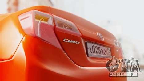 Toyota Camry 2012 para vista lateral GTA San Andreas