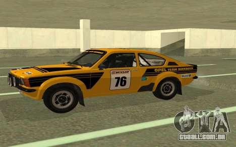 Opel Kadett Rally para GTA San Andreas esquerda vista