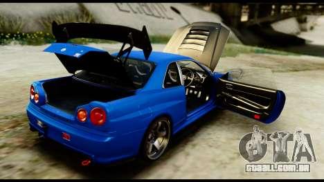 Nissan Skyline GT-R (BNR34) Tuned para GTA San Andreas vista interior