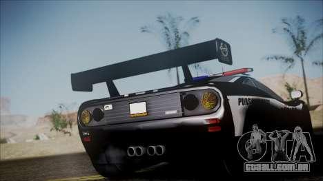 NFS Rivals McLaren F1 LM para GTA San Andreas traseira esquerda vista