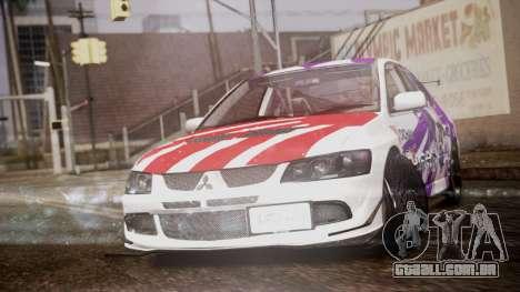 Mitsubishi Lancer Evolution VIII Yatogami Itasha para GTA San Andreas