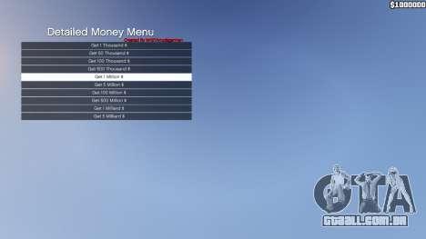 GTA 5 Detailed Money Menu segundo screenshot