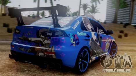 Mitsubishi Lancer Evolution X Taihou Itasha para GTA San Andreas esquerda vista