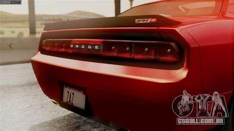 Dodge Challenger SRT8 2009 para GTA San Andreas vista traseira