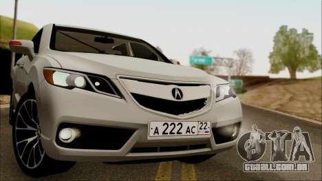 Acura RDX 2009 para GTA San Andreas traseira esquerda vista