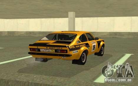 Opel Kadett Rally para GTA San Andreas traseira esquerda vista