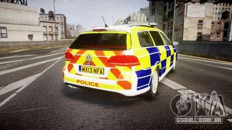Volkswagen Passat B7 North West Police [ELS] para GTA 4 traseira esquerda vista