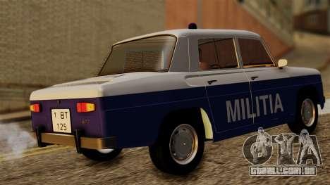 Dacia 1100 Militia para GTA San Andreas traseira esquerda vista