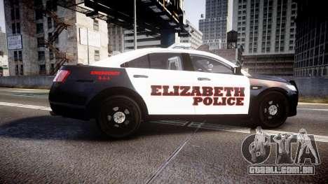 Ford Taurus 2010 Elizabeth Police [ELS] para GTA 4 esquerda vista