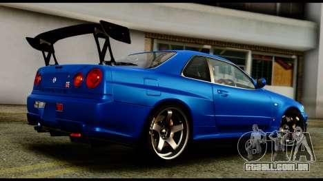 Nissan Skyline GT-R (BNR34) Tuned para GTA San Andreas esquerda vista