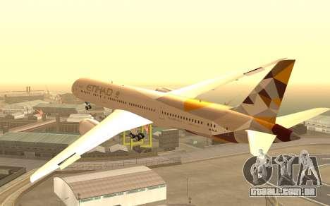 Boeing 787-9 Etihad Airways para GTA San Andreas esquerda vista
