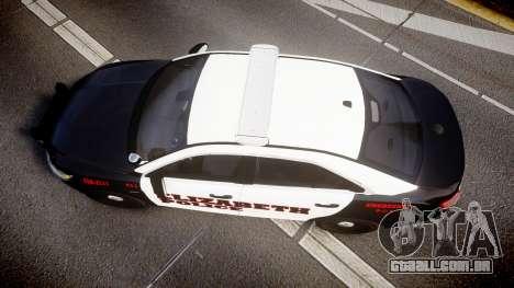 Ford Taurus 2010 Elizabeth Police [ELS] para GTA 4 vista direita