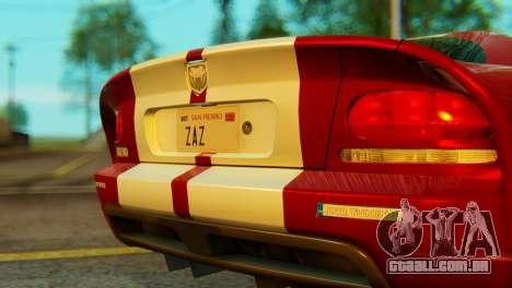 Dodge Viper SRT10 para GTA San Andreas vista traseira