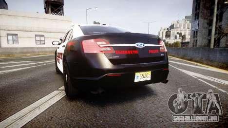 Ford Taurus 2010 Elizabeth Police [ELS] para GTA 4 traseira esquerda vista