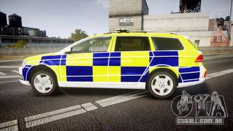 Volkswagen Passat B7 North West Police [ELS] para GTA 4 esquerda vista