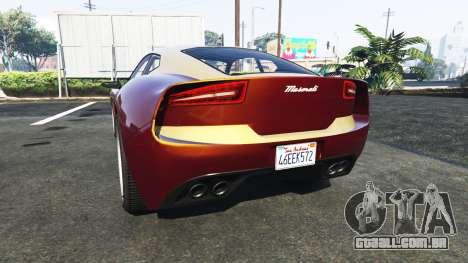 GTA 5 Lampadati Furore GT Maserati traseira vista lateral esquerda