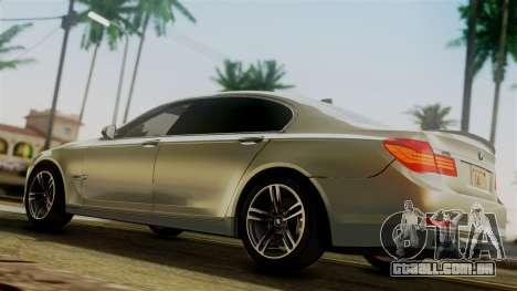 BMW 7 Series F02 2012 para GTA San Andreas traseira esquerda vista