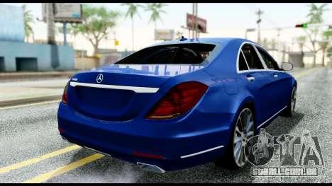 Mercedes-Benz S-class W222 2014 para GTA San Andreas traseira esquerda vista