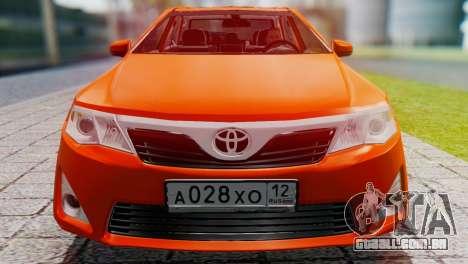 Toyota Camry 2012 para GTA San Andreas traseira esquerda vista