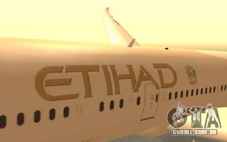 Boeing 787-9 Etihad Airways para GTA San Andreas vista direita