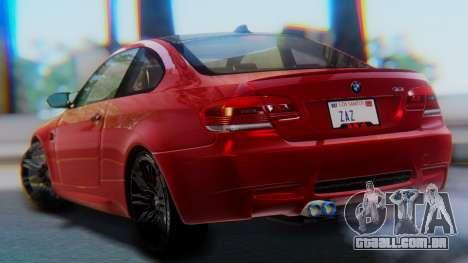 BMW M3 E92 2008 para GTA San Andreas esquerda vista
