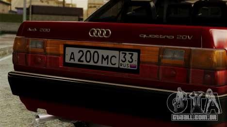 Audi 200 Quattro para GTA San Andreas vista traseira
