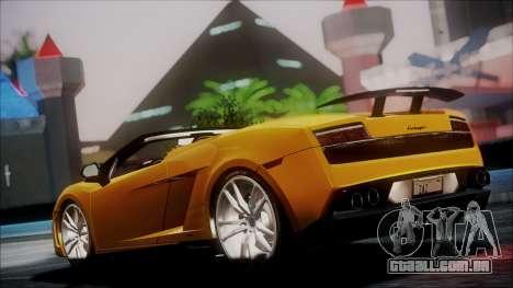 Lamborghini Gallardo LP570-4 Spyder 2012 para GTA San Andreas traseira esquerda vista