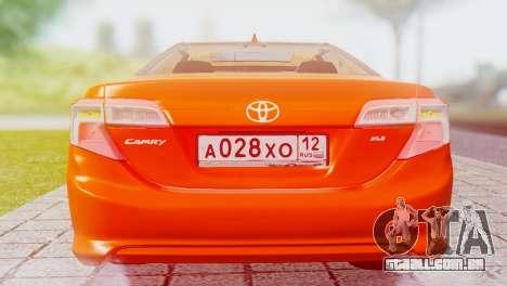 Toyota Camry 2012 para GTA San Andreas vista direita