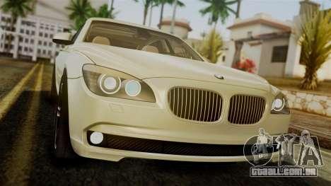 BMW 7 Series F02 2012 para GTA San Andreas vista interior