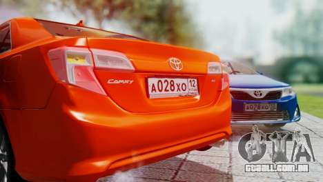 Toyota Camry 2012 para GTA San Andreas vista interior