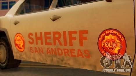 4-door Police Esperanto para GTA San Andreas traseira esquerda vista