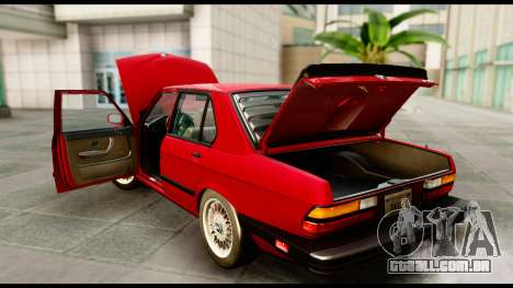 BMW M5 E28 1985 NA-spec para GTA San Andreas vista interior
