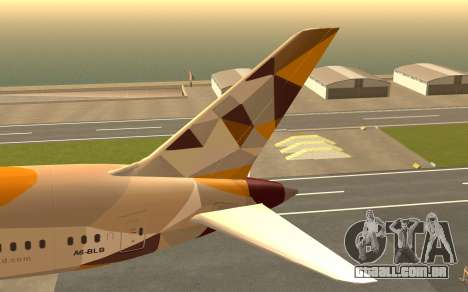 Boeing 787-9 Etihad Airways para GTA San Andreas traseira esquerda vista