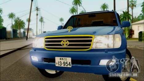 Toyota Land Cruiser 100 UAE Edition para GTA San Andreas traseira esquerda vista