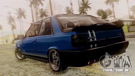 Renault 11 Turbo para GTA San Andreas esquerda vista