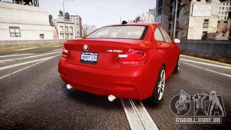 BMW M235i para GTA 4 traseira esquerda vista