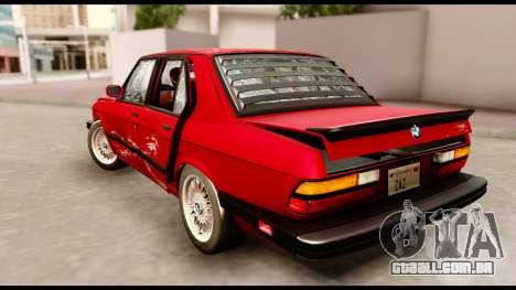 BMW M5 E28 1985 NA-spec para GTA San Andreas vista inferior