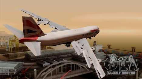 Boeing 747 British para GTA San Andreas esquerda vista