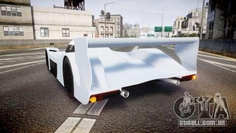 Toyota GT-One TS020 blank spoiler para GTA 4 traseira esquerda vista