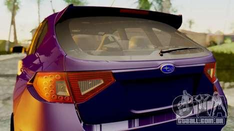 Subaru Impreza WRX STI 2008 para GTA San Andreas traseira esquerda vista