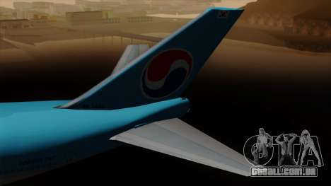Boeing 747 Korean Air para GTA San Andreas traseira esquerda vista